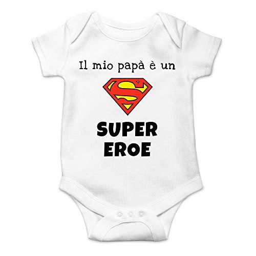 Body Il Mio papà è Un Supereroe, Idea Regalo per la Festa del papà, Bimbo Bimba Infanzia Manica Corta (Bianco, 3-6 Mesi)