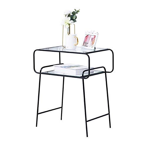 BDD Klapptisch Metall Nachttisch Gehärtetes Glas Tischplatte Kopfrahmen In Zwei Farben Erhältlich,Schwarz