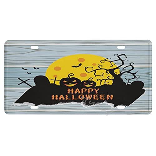 Placa de licencia americana de calabaza de Halloween, placa de matrícula de metal de aluminio, etiqueta de coche, decoración del coche para amigos, padres, 15,2 x 30,5 cm