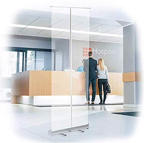 AMDIMOHB Pantalla retráctil Roll-Up Banner Face Shields Dividers Portable Roll Up Up Banner, protector social, Roll Up Guard, Guard for Desk, Clear for Recepcionista, Oficina