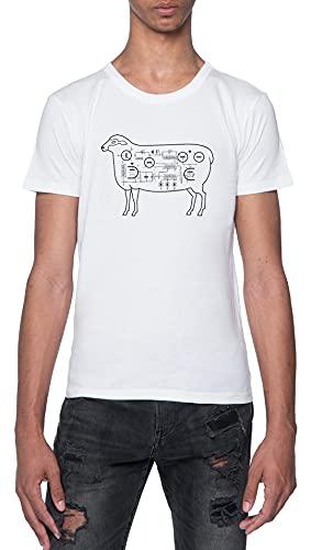 Eléctrico Oveja Camiseta Blanca para Hombre De Manga Corta con Cuello Redondo White T-Shirt Mens XL