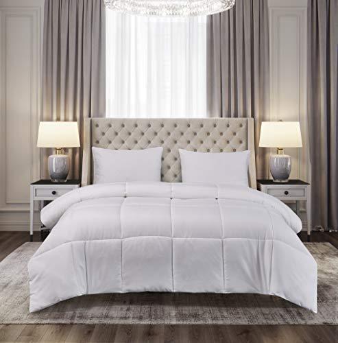 Blue Ridge Home Fashions Microfiber Down Alternative All Season Comforter-Hypoallergenic Polyester Fill, Twin, White