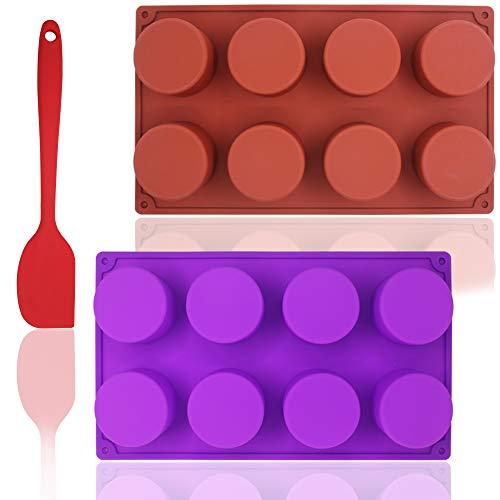 Molde de silicón redondo de 8 cavidades con espátula de silicona, SourceTon Paquete de 2 moldes de cilindro antiadherente para jabón hecho a mano, magdalena, muffin, cubo de hielo: marrón y morado