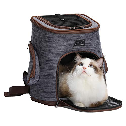 Petsfit Comfort Dogs/Cat Carrier Backpack,Hold Pets up to 15 LBS,Go for Walk, Hiking and Cycling 17' H x13 L x11 D, Coffee