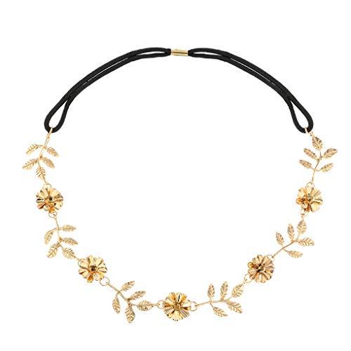 Yalice Elastic Flower Head Chain Hair Gold Leaf Headband Elegant Headpieces Wedding Hair Acessories for Women and Girls (Gold-2)