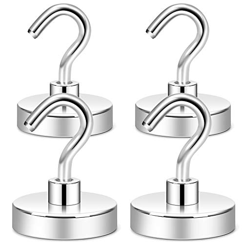 Neosmuk Magnetic Hooks Heavy Duty,100 lb Strong Magnet with Hook for Fridge, Super Neodymium Extra Strength Industrial Hooks for Hanging, Magnetic Hanger for Toolbox, Cruise, Grill, Coat and Storage