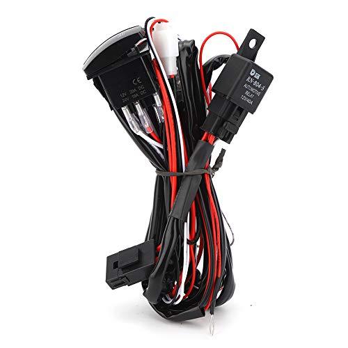 Arnés de cables con interruptor, kit de arnés de cableado universal con lámpara de trabajo LED para barra de luz antiniebla de coches de...