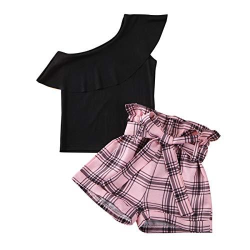 Completo 2 Pezzi Bambina 1-6 Anni Maglia Crop Top con Maniche Lunghe/Corte a Sbuffo + Pantaloncini a Vita Alta con Elastico Casual Moda