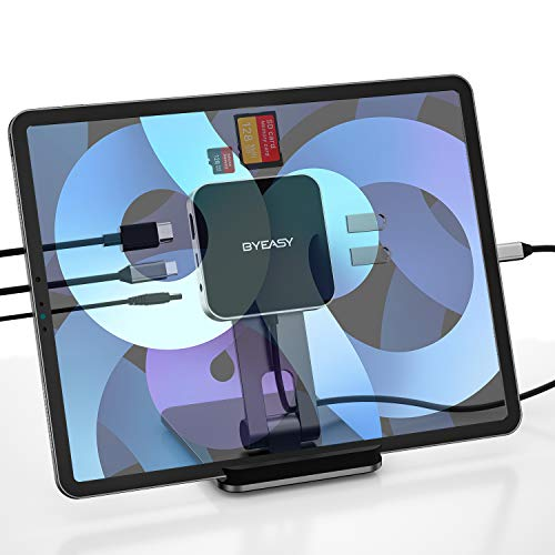 BYEASY USB C Hub HDMI, Faltbar USB C Adapter mit 4K HDMI, 2 USB 3.0 Anschlüsse, SD/TF Kartenleser, Type C PD, 3,5mm Headphone Anschluss, 7 in 1 USB C Docking Station für iPad Pro 2018 2019