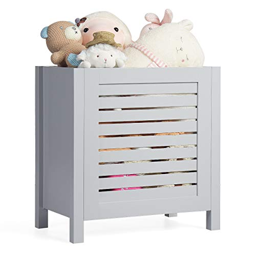 Costzon Wooden Toy Box Chest with Lid, Large Storage Cabinet with Louver Design for Storage, Heavy-Duty Bedside Cabinet for Bedroom/Living Room/Kindergarten (Grey)