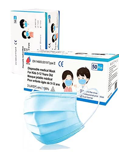50 Chirurgische Masken für Kinder-3-lagige Einwegmasken-CE-gekennzeichnet-Typ II- Norm EN14683:2019 -3 Windeln - Polypropylen - Medizinisches Gerät- kinderschutzmaske- Mundschutz- Mädchen - Junge
