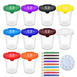 HOMKARE No Spill Paint Cups with Lids and Paint Brushes, Kids Spill Proof Paint Cups with Paint Palette Trays for Kids Art Painting (Pack of 23)