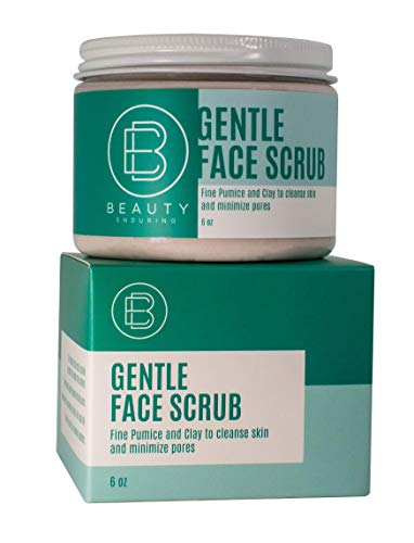 Gentle Face Scrub by Beauty Enduring (6oz) - Fine Pumice & Clay Natural Exfoliating Face Scrub, Gentle Exfoliator, Facial Care for Sensitive Skin