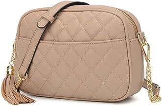 Lola Mae Quilted Crossbody Bag, Medium Lightweight Shoulder Purse Top Zipper Tassel Accent (Taupe)