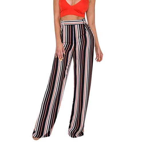 Great Price! HYSGM Women Stripe Printed Wide Leg Pants Sweet High Waist Pockets Casual Chic Loose Tr...
