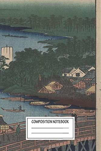 Notebook: Japanese Pre 1915 Woodblock Print Senju Great Bridge Wide Ruled , Journal for Writing, Size 6