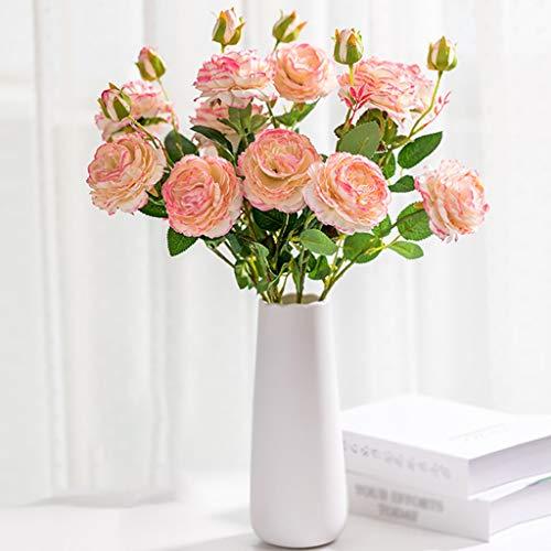 DXIUMZHP Floristik Künstlicher Blumenstrauss Simulationsrosen Dekoration Esstisch Wohnzimmer Dekoration Indoor Gefälschte Blumen Seidenblume Blumenstraußdekoration (Color : Pink*6+vase)