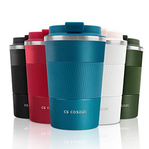 CS COSDDI Tasse à café, Tasse de café isolée Tasse de Voyage en Acier Inoxydable - Tasse de Voiture à Double paroi Couvercle Isolant Tasse à café réutilisable écologique, 380 ML / 13 oz (Blue-A)
