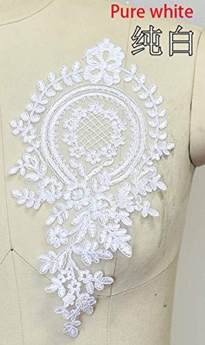 2 stks 28x14 cm kleuren delicate bruiloft sluier hoofd ornamenten kant applique kant trim jurk diy kant accessoires, zuiver wit