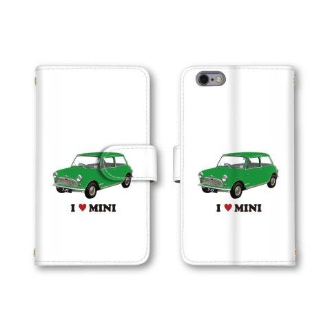 【ノーブランド品】 AQUOS PHONE Xx mini 303SH スマホケース 手帳型 車 イラスト カー ミニ グリーン 緑色 かわいい おしゃれ 携帯カバー 303SH ケース 携帯ケース アクオスフォン