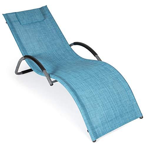 Park Alley Sonnenliege Alu, Relaxliege Garten, bis 100 kg belastbar, Abnehmbares Klettkissen, 192 x 45 cm Liegefläche, Blau Meliert