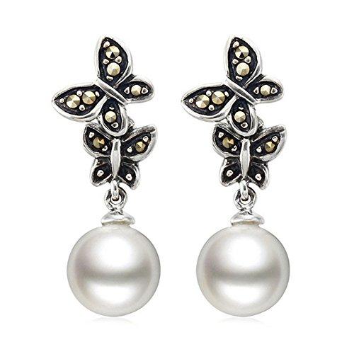 Jade Angel Pendientes colgantes redondos de plata 925 de 12 mm con perlas blancas, joyería antigua vintage