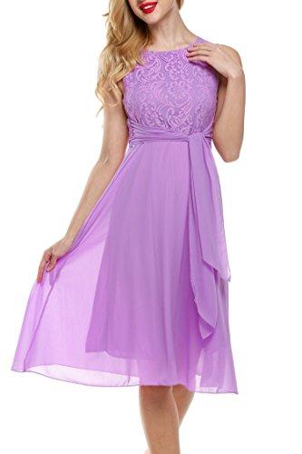 Zeagoo Damen Elegant Cocktailkleid Brautjungfernkleid Spitzenkleid Festliches Kleid Hochzeit Partykleid