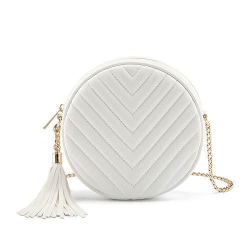 Ayliss Women Crossbody Shoulder Bag Circle Tassel Purse Clutch Evening Small PU leather Handbag Fashion Wallet With Chain (White #1)