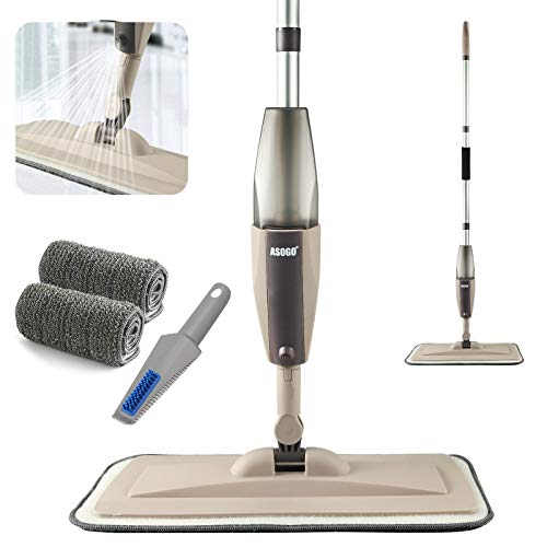 Spray Mop for Floor Cleaning, Floor Mop with a Refillable Spray Bottle and 2 Washable Pads, Flat Mop for Home Kitchen Hardwood Laminate Wood Ceramic Tiles Floor Cleaning (Khaki)
