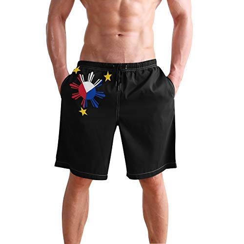 Cindly Men's Swim Trunks Filipino Philippine National Flags Quick Dry Beach Board Shorts with Pockets