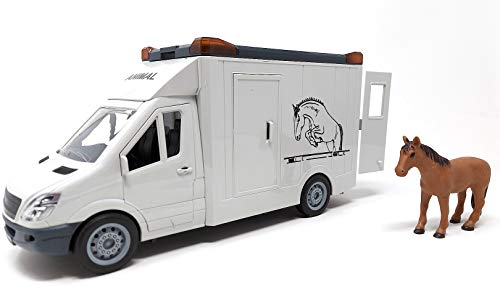 HorseKlub Pferdetransporter Auto Spielzeug, Spielzeugauto mit Warnleuchte und Sound, 27 cm