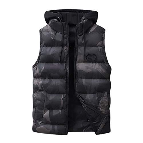 Reooly Chaleco de algodón con Capucha de Camuflaje de Moda para Hombre (Negro,Large)