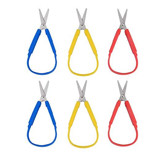 iSuperb 6 pack Tijeras para diestros, Scissor - Mango de tijera para niños, adolescentes y adultos, agarre fácil, apertura fácil, tijeras adaptadas para necesidades especiales (6 pack Tijera)