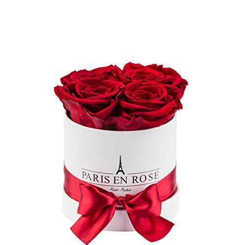 PARIS EN ROSE Rosenbox Petit-Palais Classic | Weiße Rosenbox mit bordeauxroten Infinity Rosen | bis 3 Jahren haltbar |Flowerbox mit 4 konservierten Blumen