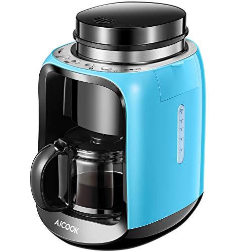 Aicook Cafetera con Molinillo, 2 en 1 Cafetera Automatica Molinillo Integrado
