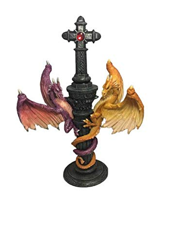 Flying Dragons Candlestick Candle Holder 8 inches Tall Celtic Cross with Stand Gothic