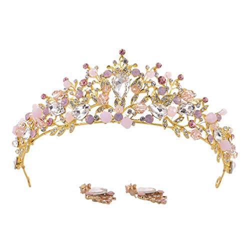 Lurrose Pendientes de diamantes de imitación para novia, corona de cristal, decoración para el pelo, tocado creativo, elegante para mujeres y niñas, boda (rosa)