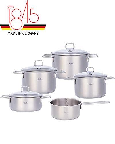 Fissler hamburg / Edelstahl-Topfset, 5-teilig, Kochtopf-Set, Töpfe mit Glas-Deckel, Induktion, alle Herdarten (3 Kochtöpfe, 1 Bratentopf, 1 Stielkasserolle-deckellos)