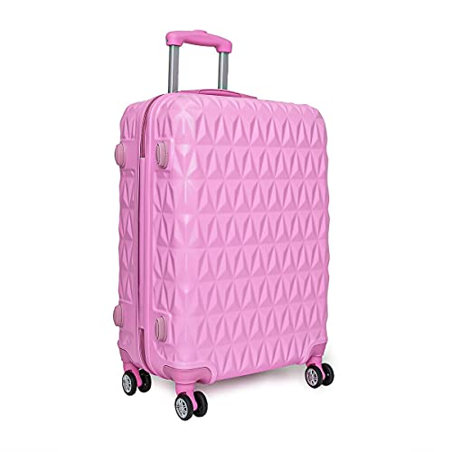 YJYDD Hard Shell PC+ABS Cabin Suitcase 4 Wheel Travel Luggage Trolley Lightweight Case (Color : Pink, Size : 3 PIECE SET)