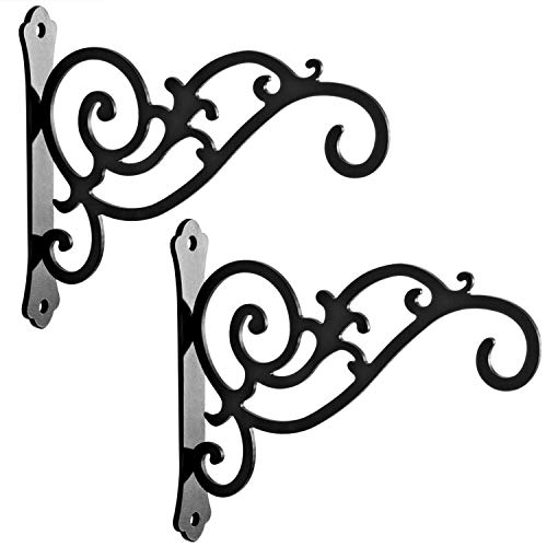 HongKim 2 Pieces 6-Inch Outdoor Indoor Small Decorative Iron Wall Hooks for Hanging Lanterns Solar Lights Bug Zappers Hummingbird Feeders Wind Chimes Hangers, Black