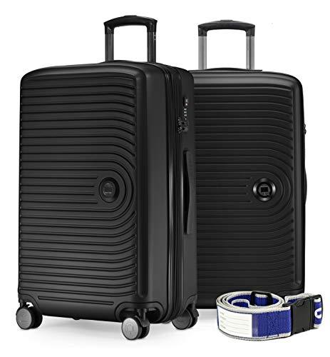 mächtig HAUPTSTADTKOFFER – Mittel – 2 Koffer, Trolley-Set + 2 Koffergürtel, Klappdeckel-Trolley-Koffer…