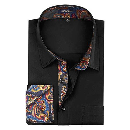 HISDERN Herren Hemd Paisley Freizeithemd Businesshemden Freizeithemden Lang arm Baumwolle Klassisch Regular Fit Hemden Braun