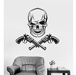 sdfyh Skull Guns Gangsters Vinyl Wall Stickers Personality Pattern Wall Decal Removable Wallpaper for Teens Bedroom Mural 57X89Cm