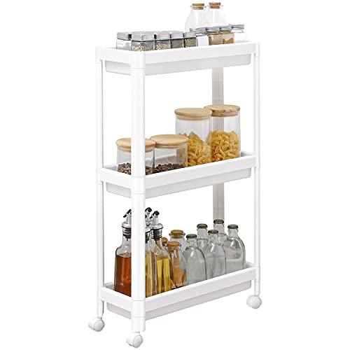 Yorbay Estantería con 3 estantes, estrecha, para cocina o baño, profundidad superior a 18 cm, 45 x 17,5 x 70,5 cm, color blanco