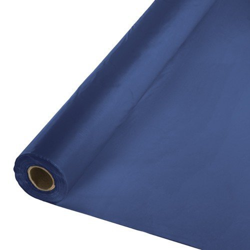 Creative Converting Touch of color Plastic Tablecover Banquet Roll, 250', Navy