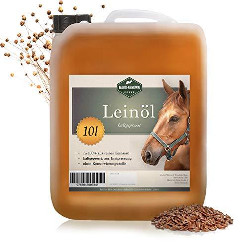 Martenbrown® Premium Leinöl für Pferde, Hunde und andere Tiere   im XXL-Kanister [10 Liter]   kaltgepresst und 100% rein und natürlich   Nahrungsergänzung für Tierfutter