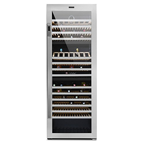 Klarstein Botella Trium - Weinkühlschrank mit Glastür und 3 Kühlzonen, Gastro-Kühlschrank, 617 Liter, 268 Flaschen, 14 herausnehmbare Ablagen, Tastenfeld, Licht-Taste, Edelstahl, schwarz-silber