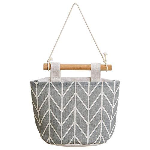 Quyi Bolsa de almacenamiento para colgar en el armario, tela de lino de alta calidad sobre la puerta, bolsas de almacenamiento para colgar en el dormitorio y el baño