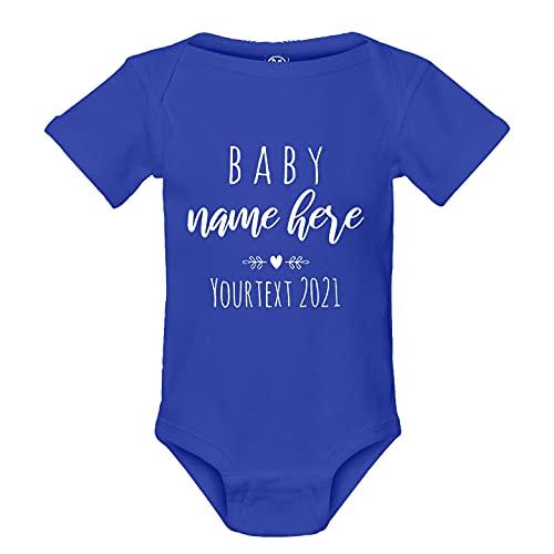 Pregnancy Announcement Onesie Custom Text Personalized Baby Onesie Infant Bodysuit (6 Months, Royal)