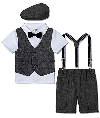 mintgreen Gentleman Smoking Anzug Set für Baby Jungen Hemd+Weste+Hose+Hut, Dunkel Grau, 3-4 Jahre (Herstellergröße : 110)